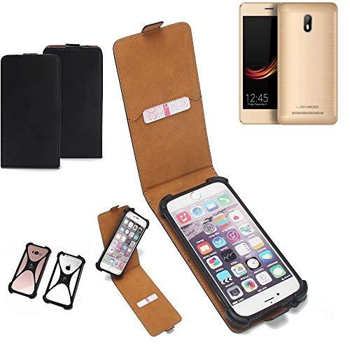 K-S-Trade Flipstyle Hülle für Leagoo Z6 Handyhülle Schutzhülle Tasche Handytasche Case Schutz Hülle + integrierter Bumper Kameraschutz, schwarz (1x)