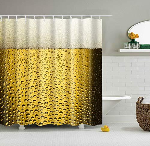 fdswdfg221 1 Tasse Gelbes Bier Weiße Blase 3D Digitaldruck feuchtigkeitsbeständig mehltau Bad Vorhang 180X180 cm + 12 Haken - Mickeys Bier