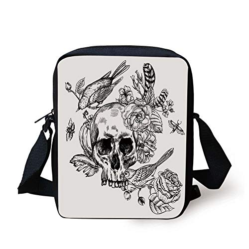 Black and White,Dead Skull Flowers Birds and Feathers Gothic Mexican Calavera Design,Red Black White Print Kids Crossbody Messenger Bag Purse - Coach Clutch Purse