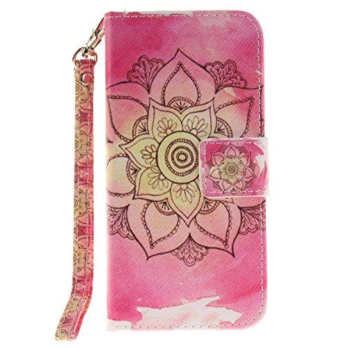 Voguecase® für Apple iPhone SE hülle,(Katzenbär 03) Kunstleder Tasche PU Schutzhülle Tasche Leder Brieftasche Hülle Case Cover + Gratis Universal Eingabestift Große Pink Blume