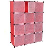 Ts Ideen 5122 armario modular con 12 compartimentos Conjuntos de puertas, polipropileno, Rosso