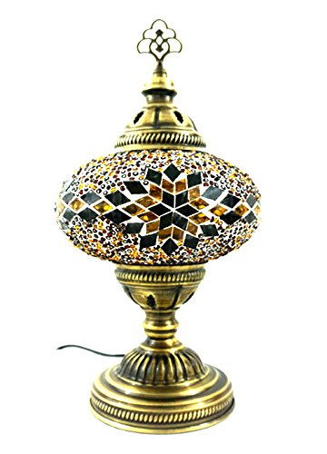 Handgefertigte Orientalisch Türkisch Asiatisch Mosaik Tisch Lampe Innenleuchte Nachttischlampe Beistelllampe Handarbeit Mosaik Glas Tischlampe Glasgröße 3 (Braun-Stern) - Mosaik-tisch-lampe