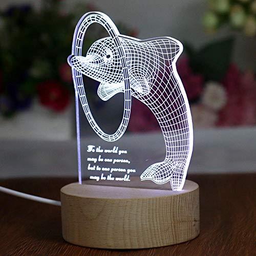3D visuelles Nachtlicht, LED Energiesparlampe, intelligente Tischlampe, Delphinmodell, romantisches Geschenk, Barclub-Partydekorationslampe, Schlafzimmer-Nachttischlampe, kundenspezifische Farbe