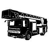 plot4u Wandtattoo Feuerwehr Löschzug in 9 Größen und 19 Farben (75x50cm schwarz) Test
