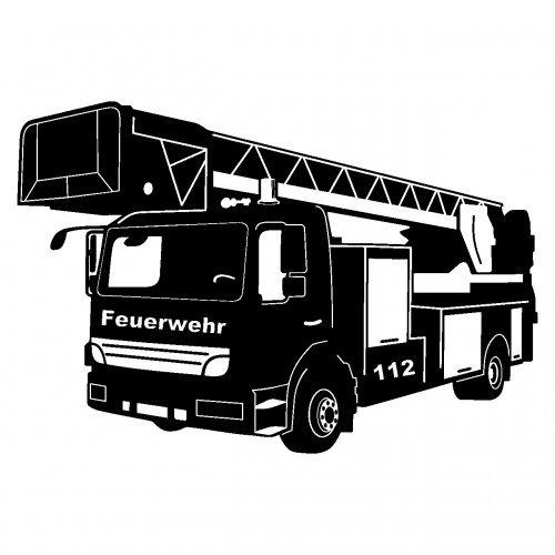 feuerwehr wandtattoo plot4u Wandtattoo Feuerwehr Löschzug in 9 Größen und 19 Farben (75x50cm schwarz)