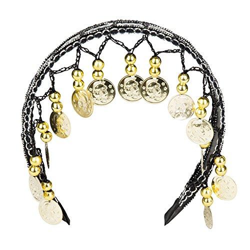 Boland BV Belly Dance Headband Headdress With Beads & Coins Fancy Dress Accessory-Black
