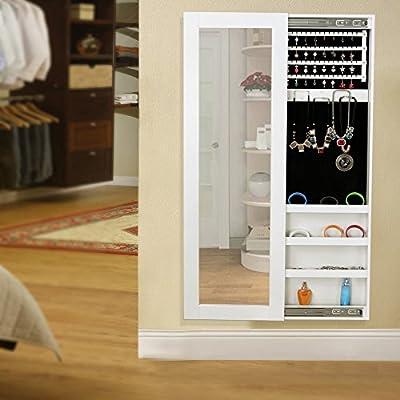 Songmics® 120 x 40 x 9,5 cm Schmuckschrank Spiegelschrank Wandspiegel Spiegel Hängeschrank Schmuckkasten (Weiß) JBC25W