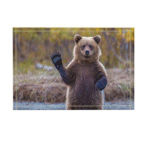 nymb Wild Tiere Decor, Cute braun Bear Spielen Wasser Bad Teppiche, rutschfeste Fußmatte Boden Eingänge Innen vorne Fußmatte, Kinder Badteppich, 39,9x 59,9cm, Badezimmer Zubehör (Contour Braun Bad Teppich)