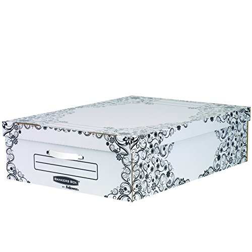 Bankers Box 4480401 - Pack de 2 cajas de cartón multiusos, 69 x 20 x 52 cm, color blanco y negro