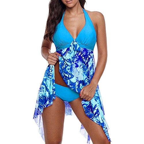 Jockey Damen Kostüm - VECDY Bikini Damen Set Sexy Badeanzug Badebekleidung Schwimmen Gepolsterter Tankini Swimdress Badeanzug Beachwear in Übergröße Unterwäsche (S, U-Blau)
