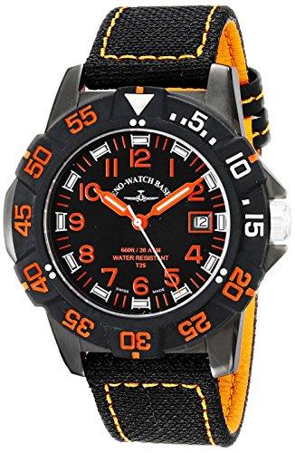 Zeno Men's 45mm Black Canvas Stainless Steel Case Quartz Watch...