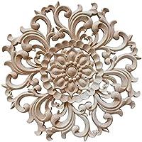 Pinji Madera Tallada Redonda Applique Decorativo de Estilo Europeo #1