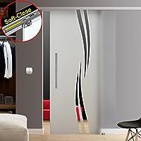 900x2050, Soft-Close Selbsteinzug Slimline Alu-Schinensystem mit Griffstange S-900-420EGE-ASE Wandseitig flach 420mm zylindrisch