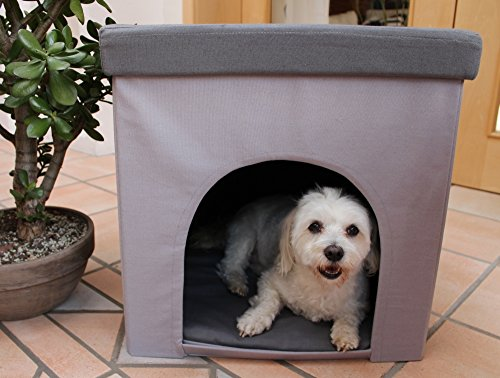 Hundehöhle und Hocker grau, Tierhöhle, Sitzhocker - 3