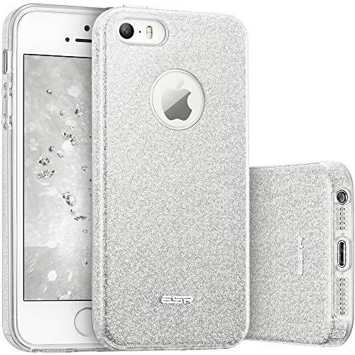 ESR iPhone SE Hülle, Glitzer Schutzhülle [Weiche TPU Abdeckung + Glitzer Papier + PP innere Schicht] [DREI in Einem] Hülle für iPhone SE 5S 5 (Silber) (Fall Kamera Len Iphone)