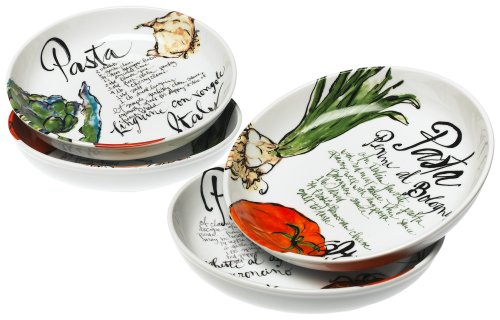Pasta Italiana Bowls, Set of 4, Multi-Colour