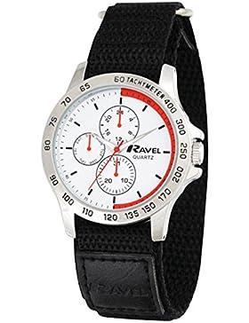 Ravel Arbeit Uhr mit Fast Fit Action Grip Klettverschluss Men'Quarz-Uhr mit weißem Zifferblatt Analog-Anzeige...