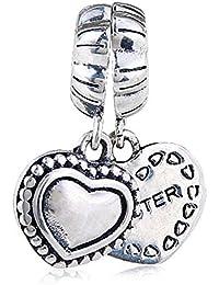 4a70bf1d6d Sister charm in argento Sterling 925 a forma di cuore amore ciondolo charm  Anniversary Friend charm per braccialetti…