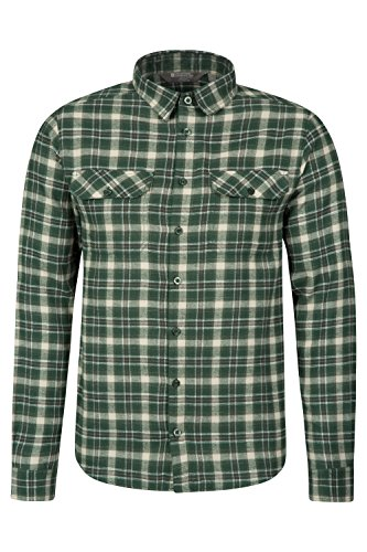 mountain-warehouse-trace-mens-flannel-long-sleeve-checked-shirt-green-medium