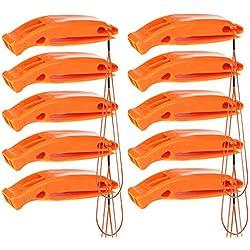 Bramble Notfall Überleben Sicherheit Pfeife in Orange 10er Pack - Perfekt fürs Wandern, Camping, Zelten, Trekking, Survival, SOS, Lebensrettung