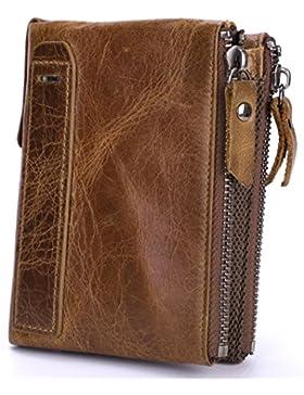 BestFire Cartera de cuero para hombre Bifold Vintage monedero Titular de la tarjeta de crédito Doble cremallera...