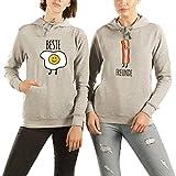 VivaMake 2 Best Friends Hoodie Pullover Set Für Damen mit Aufdruck Bacon und Egg Freunde
