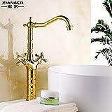 Hlluya Wasserhahn für Waschbecken Küche Vergoldeten Waschbecken Armaturen und Kaltes Wasser Waschbecken Badezimmer Schrank Wasserhahn Wasserhahn antiker Tisch Becken