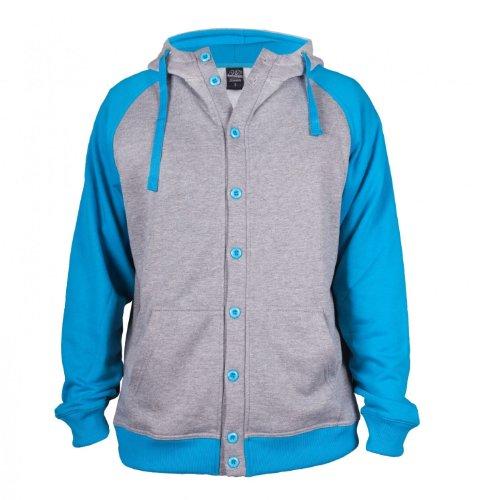 Urban Classics Light Fleece Button Sweat t Infrare Grey/Turquoise