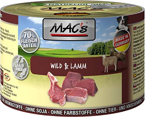 MAC\'S Nassfutter WILD und LAMM für Hunde 70{7b15a6d3604d6526845a8c30ca2b4710fa81ae304ece822c6472814f1689fffb} Fleischanteil 200g