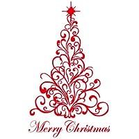 YYH PVC albero di Natale allegro muro decalcomanie parete adesivi vacanza decorazione muro Adesivi confezione da 6