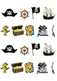 18Kuchendekorationen zum Aufstellen, essbares Oblatenpapier, Design: Pirat, Premium Tortenaufsatz-Dekorationen
