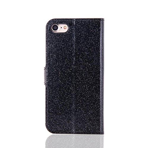 Cover per iPhone 7, Tpulling Custodia per iPhone 7 Case Cover Copertura della pelle di caso del cuoio di vibrazione del raccoglitore di Bling Glitter di Bling per il iPhone 7 4.7 pollici (Rose Gold) Black