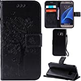 Ooboom® Samsung Galaxy S7 Case Cat Tree Pattern PU Leather Flip Cover Wallet Stand with Card/Cash Slots Packet Wrist Strap Magnetic Clasp for Samsung Galaxy S7 - Black