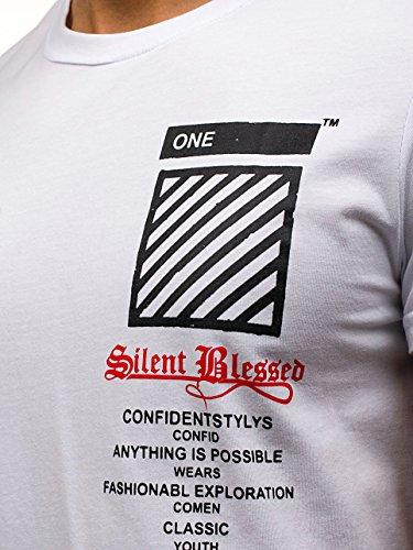 BOLF Herren T-Shirt Tee Kurzarm Rundhals Classic Aufdruck Print Motiv MIX Weiß_S085