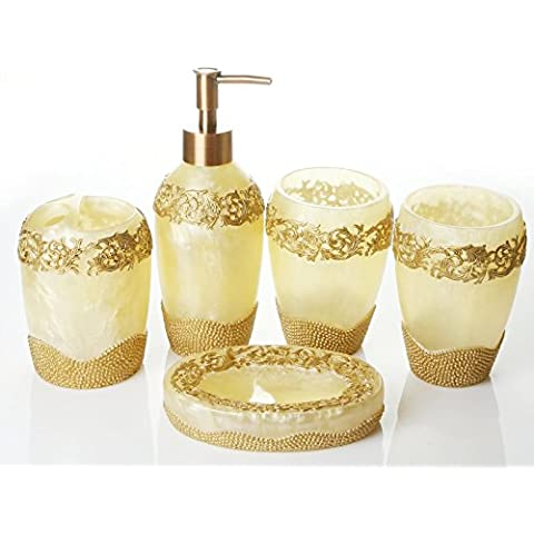 Boda de Baño Baño de resina de vanidad solariega romántico Juego de 5 piezas de tóner
