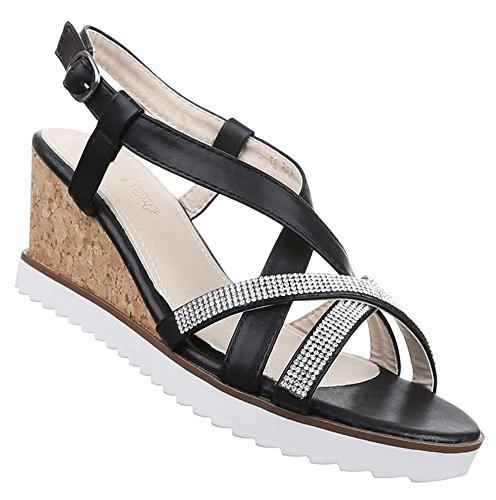 Damen Sandaletten Schuhe Keilabsatz Wedges Pumps Schwarz Gold Silber 36 37 38 39 40 41 Schwarz