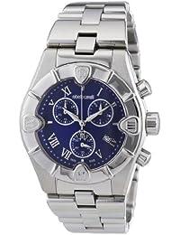 amazon co uk roberto cavalli watches roberto cavalli unisex diamond chronograph watch r7253616035 blue dial and stainless steel case