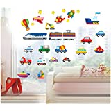 High Quality Adhesive Rooms Walls Vinyl DIY Stickers / Murals / Decals / Tattoos / Transfers For Kids Playrooms / Nurseries With 24pcs Different Transport Vehicles And 11pcs Stars Designs In Many Different Colours By VAGA