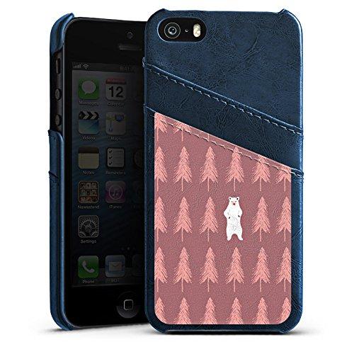 Apple iPhone 4s Housse Étui Silicone Coque Protection L'ours dans la forêt Ours polaire Ours Étui en cuir bleu marine