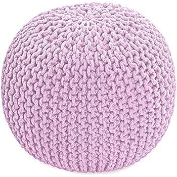 pouf en tricot rond coloris rose pastel 35 x 40 cm cuisine maison. Black Bedroom Furniture Sets. Home Design Ideas