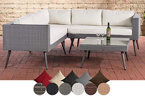 CLP Polyrattan Eck-Loungeset MOLDE I Grau I Gartenlounge I Eck-Sofa + Glastisch I 1,25mm Rattandicke 45 cm (Dunkelgrau), Cremeweiß