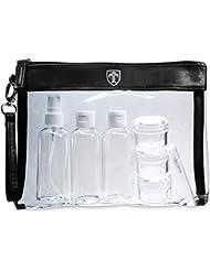 Travando ® Durchsichtiger Kulturbeutel mit 7 Behältern (max. 100ml)   1l transparente Kulturtasche für Flüssigkeiten im Handgepäck   Kosmetiktasche für Flugzeug, Reise   Reiseset, Waschtasche, Beutel