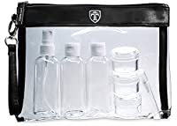 TRAVANDO ® Clear Toiletry Bag with 7 Bottles (max.100ml) | Travel Set for Liquids | Transparent Zipper Bag for Cosmetics | Plastic PVC Airport Security Luggage Organiser | Wash Bag Kit Make up Pouch