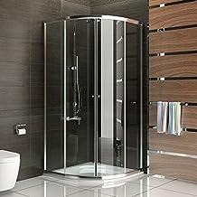 Cabina de ducha de cristal con estructura de cuadrante y puerta corredera, 80x 80x 190cm