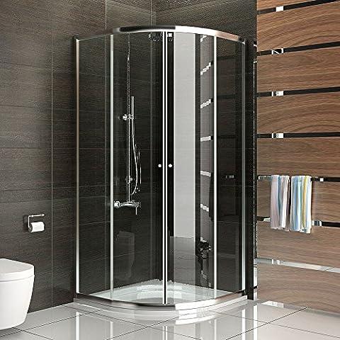 Duschkabine Dusche mit Rahmen Viertelkreis Schiebetür Duschabtrennung 80x80 x190 cm Trennwand Duschwand Duschkabine mit Glasveredelung
