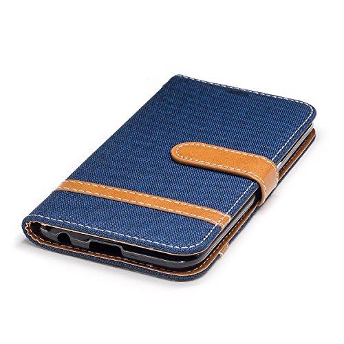 Custodia per LG K10 2017, ISAKEN Flip Cover per LG K10 2017 con Strap, Elegante Bookstyle Contrasto Collare PU Pelle Case Cover Protettiva Flip Portafoglio Custodia Protezione Caso con Supporto di Sta Marrone+blu navy