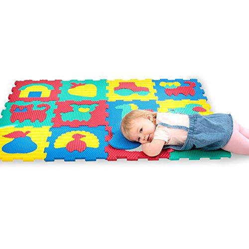 Hakuna Matte Puzzlematte für Babys und Kinder | 12 Schaumstoffplatten mit Bauernhofmotiv in einer Aufbewahrungstasche | +20% dickere, weichere Spielmatte | Schadstofffrei TÜV EN71 und Formamid geprüft