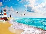 Wemall 3D stereoscopico paesaggio marino faro spiaggia sfondo vivente 3D carta da parati Decorazione della casa, 400x280 cm (157,5 per 110,2 in)
