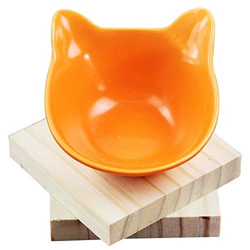 Roblue Hunde Katze Futternapf Keramik Haustier Wasser Essenschüssel Katzennapf Orange Schräge Hundeschüssel