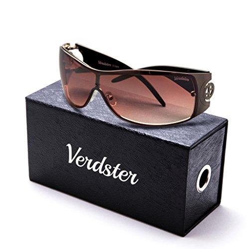 Verdster Trendige XL Sonnenbrille für Frauen - Spezielle TourDePro Gläser - Zubehör Etui - UV400 Schutz - Metallrahmen - Ideal zum Autofahren Städtetouren (Schwarz/Gold) -